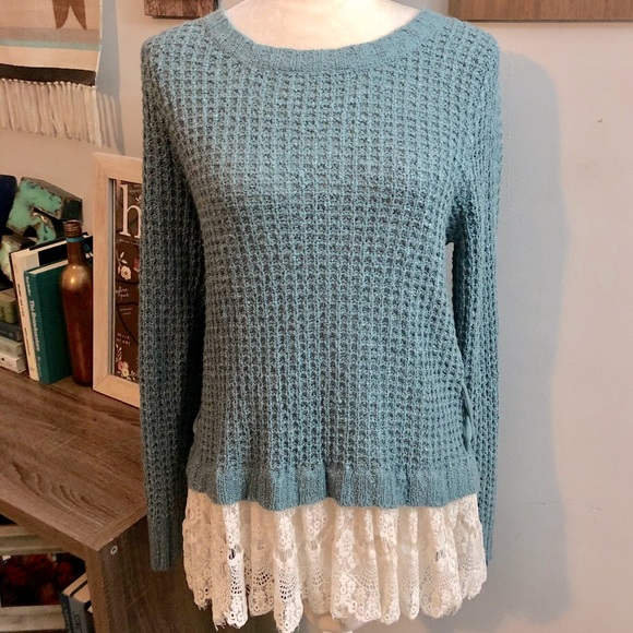 ✅SOLD! [KnoxRose]Teal LaceTrim Knit Sweater